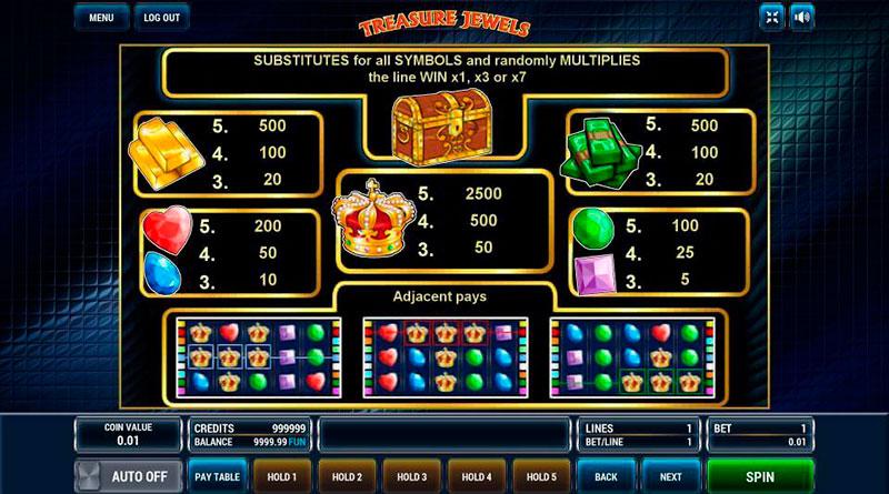 Игровой автомат Treasure Jewels – кладезь алмазов и выигрышей